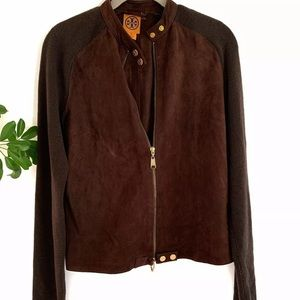 Tory Burch Suede  Zipper w/ Knit  Jacket  Sz S